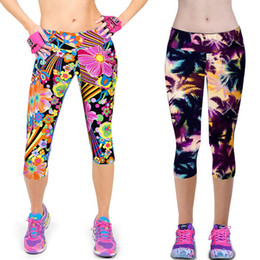 Wholesale Sexy Silver Leggings - New Arrival Summer Women Capri Leggings Printing Sexy Mid-Calf 3 4 Fitness Leggins Capri Pants