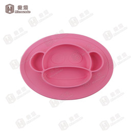 Wholesale Baby Silicone Placemat - Monkey Design silicone placemat plate Silicone Feeding bowl Baby Plate set Kids Silicone bowl FDA Standard Free shipping -F023