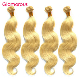 Wholesale Wholesale Weave 613 - Glamorous Blonde Hair Weaves Popular #613 Bleach Body Wave Hair Extensions 4Pcs lot Peruvian Indian Malaysian Brazilian Straight Hair Weaves