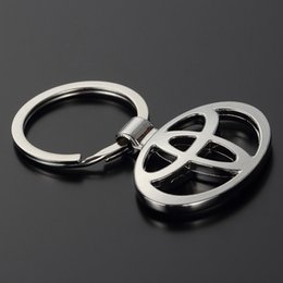 Wholesale Metal Keychain Key Ring - Car Styling Fashion Metal 3D Car Logo Key Rings Key Chain Keychain for Toyota Car-Styling Key Holder Auto Pendant