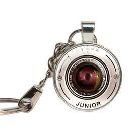 Wholesale Vintage Camera Lenses - Camera Lens Keychain Glass Cabochon Photography Key Ring Glass Dome Key Chains Vintage Camera Jewelry Personal Photo Key Holder