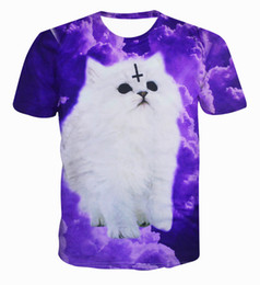Wholesale Yellow T Shirts Wholesale - Wholesale- XQXON-fashion 3D t shirt Satan Cat print the love of the devil cute cuddly kittens purple cloud cats casual t-shirt tops