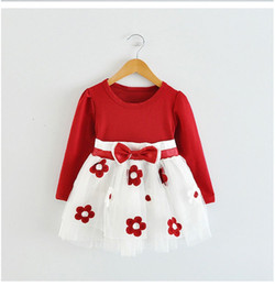 Wholesale Newborn Winter Dresses - Wholesale- Winter Baby Girl Dress Tulle Flowers Newborn Baby Baptism Clothes For Girl Party Children's Princess Dresses Girls School Wear