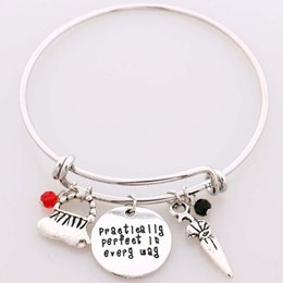 "Wholesale Umbrella Charms - Mary Poppins Bangle Bracelet""Practically perfect in every day""Hand Stamped Letter Bracelet the Handbag,Umbrella,Crystals Charms"