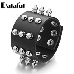 Wholesale Spiked Wristbands - Wholesale- Unisex Metal Cone Stud Spikes Rivet PU Leather Biker Wristband Wide Cuff Punk Rock Bracelets Bangles For Women Men S354