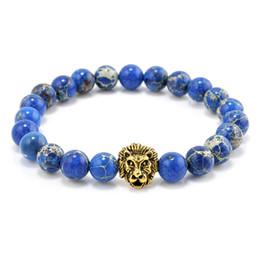 Wholesale Blue Sea Sediment Jasper - Wholesale-New Design Sea Sediment Jasper Blue Stone Bead Bracelet Men Blue Buddha Lion Bracelet T569