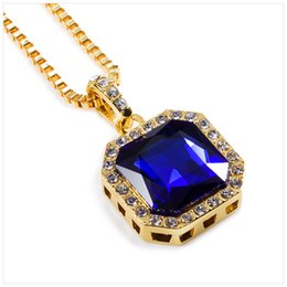 75cm chain Coupons - Wholesale-Fashion Bling Bling Iced Out Ruby Pendant Chain 14k Gold Square Red Black Blue Green White RUBY Pendant 75cm Chain Necklace