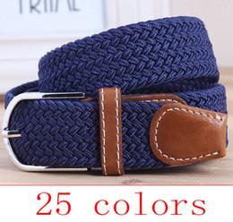 Wholesale Mens Grey Leather Belt - Wholesale- 2017 Men's Casual Belts Elastic luxury stripes gentleman mens Canvas belt jeans belt for men extended belt grey black blue khaki