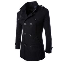 Männer wollmopp-jacke online-Neue Ankunft Herren Outwear Mantel Retro Style Wollmantel Herren Jacken Zweireiher Windbreaker langen Abschnitt schlanke Jacke Männer