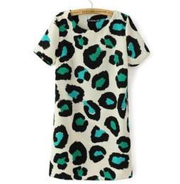 Abbigliamento da dhl online-Vestito stampato dal leopardo del leopardo delle donne del vestito dal leopardo di modo casuale del vestito chiffon dal vestito da estate più l'abbigliamento dell'abbigliamento di dimensione Trasporto libero DHL