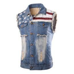Wholesale Wholesale Denim Jackets Vests - Wholesale- Sleeveless Denim Jacket Men Destroyed Stone Washed Jean Vest printed flags Light Blue 2016 Fashion Casual Slim Cotton Gilet
