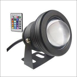 alojamiento del controlador Rebajas Luces LED sumergibles 10W LED fuente de luz DC AC 12V con carcasa de aluminio IP68 1 controlador remoto IR