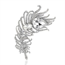 Wholesale Antique Silver Brooches - New Arrival Large Women Vintage Feather Brooch Pin Antique silver Crystal Rhinestone Metal Jewelry Accessory 170744