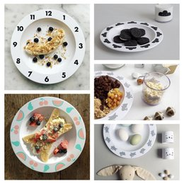 Wholesale Melamine Dinner - 6 Style INS Popular Kid Children Tableware Cartoon Cloud Digital Clock Design Round Melamine Dinner Plates Dishes Assiette Serving Tray