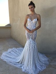 Wholesale Bling Sheath Wedding Dress - Luxury Berta Bling Wedding Dresses Sheath Sweetheart Neck Backless Bridal Gowns 2018 Lace Mermaid Wedding Dress Crystals Custom Made