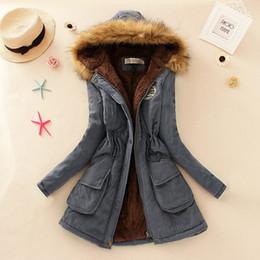 Wholesale Denim Outwear Women - Winter Coat Women New Parka Casual Outwear Military Hooded Thickening Cotton Coat Winter Jacket Fur Coats Women Clothes