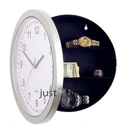 Wholesale Antique Ship Lights - Wholesale-Free shipping New Plastic Wall Clock w  Hidden Shelves Valuables Secret Stash Jewelry Money hot