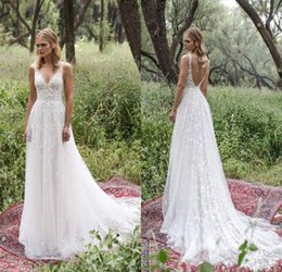 Wholesale Simple Drop Back Wedding Dress - Limor Rosen 2017 Sexy Sheer Wedding Dresses V Neck Full Lace Low Back Country bohemian cheap Wedding Gowns Cheap Beach Bridal Gowns