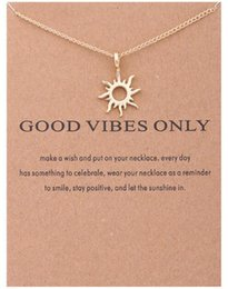 Wholesale Images Christmas Gifts - 30PCS Abstract Sun Chain Necklace Wish Card Gold Silver Good Vibe God Sun Image Pendant Chain Necklace Jewelry Gift