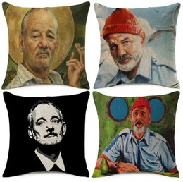 Wholesale American Decorative Arts - Bill Murray Art Painting Cushion Covers American Style Decorative Cushion Cover Linen Cotton Pillow Case For Sofa Couch Chair