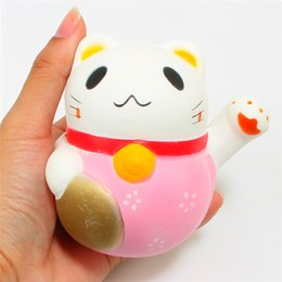 Wholesale Plastic Pussy - 10CM Kawaii Lucky Cat Squishy Jumbo Pussy Animal Slow Rising Soft Squeeze Stretchy Scented Bread Cake Kid Fun Toy Gift Doll