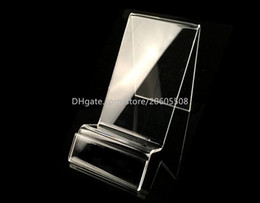 Wholesale Display Watch Holder Acrylic - Free shipping Clear acrylic mobile cell phone display stand fashion phone Digital products holder jewelry watch display holder rack 10pcs