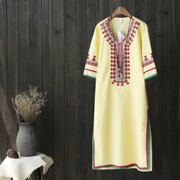 Wholesale Texture Dress - 2017 New Arrivals Top Quality Classic Simple Retro Embroidery Silk Sorcerer National Style Tea Texture Gorgeous Cheongsam Dress