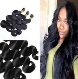 Wholesale Wholesale Hair Online - 3Bundles Body Wave Unprocessed 9A Indian Hair Human Hair Bulk Hair Online Indian human wave 3pic lot 95g-100g naturalhairfactory