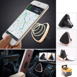 Wholesale Triangle Phone Stand - Magnetic Car Phone Holder Triangle Air Vent Mount Magnet Stand Universal For iPhone 6 6s For Samsung S8 GPS Phone Holders