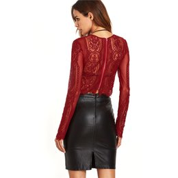 Wholesale Ladies Party Blouses - Autumn Sexy Women T Shirt with Lace See-Through Crop Shirt Fashion Ladies Long Sleeve Hollow Tops Zipper Back Blouse for Party ZL3451
