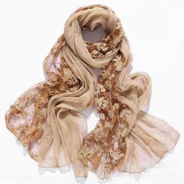 Wholesale Embroidered Scarf Chiffon - Wholesale-Embroider flower imitation Silk women scarves and stoles 2016 fashionable brand lace chiffon shawls wrap,bandana foulard femme