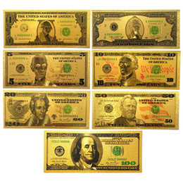 Wholesale Wholesale Plastic Craft Decorations - USA 24K Gold Foil Colorful Dollar 7pcs $100 50 20 10 5 2 1 Art Collectible Banknotes Home Decoration Crafts Gifts Props Money Souvenir Money