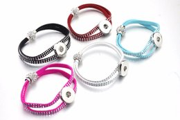 Wholesale Bracelet Directions - 5 colors Rivet Crystal Magnet buckle 18mm metal Snap Button bracelet watches women one direction female DIY jewelry