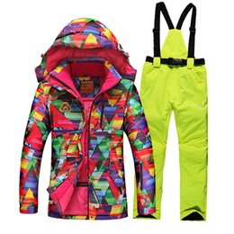 Wholesale Ladies Pink Winter Coats - Wholesale- 2016 winter ski suit female with geometry printing thicken thermal skiing jackets + women ski pants sets lady snowboarding coats