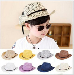 Wholesale Cool Weave - Hand woven children's cowboy leisure jazz hat New fashion baby sun beach hat Kids summer cool straw baby boy girl caps M037