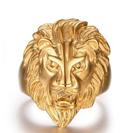 Wholesale Gold Lion Head Ring - 2016 New Design Retro Punk Ferocious Golden Lion Head Ring Gothic Knight 316L Stainless Steel Ring Size 8-12(USA) Men's Party Accessories