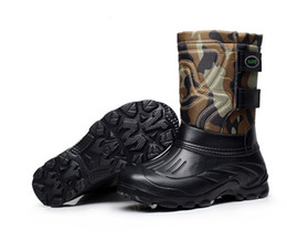 Wholesale Thick Warm Half Slips - Men's thick bottom anti-slip cloth with soft nap boots Waterproof light fishing tube warm ski boots shoes