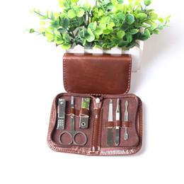 Wholesale Men Manicure Sets - 6pcs in 1 Portable Men's Grooming Set Man Manicure Set Nail Art Care Pedicure Beauty Tools Stainless steel Scissor Nail Clipper Cutter Kit