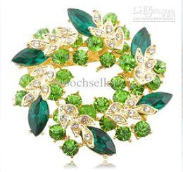 Wholesale Green Rhinestone Wreath Brooch - 2 Inch Gold Plated Green and Lime Rhinestone Crystal Wreath Flower Brooch
