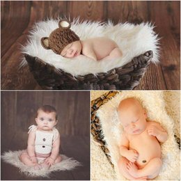 Wholesale Wholesale Fur Baby Blankets - faux fur blanket Fashion Newborn Baby Comfortable Photography Props Infant Photo Wrap Fur Stretch Yarn Wapped Props Blankets