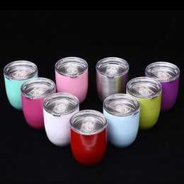 Wholesale Double Glass Beer - Egg Cup Stemless Cups 10oz 9 Colors Double Layer Mugs Powder Coated Stainless Steel Beer Wine Glasses Vacuum Insulated Cups 3002050