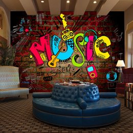 Wholesale Free Paper Backgrounds - Wholesale- Free Shipping 3D stereo personality KTV bar background wall mural wallpaper graffiti music symbol