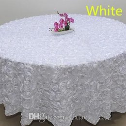 2019 tovaglia all'ingrosso del cotone Colore bianco all'ingrosso 1.2 m Wedding Round Tovaglia sovrapposizioni 3D Rose Petal Tovaglie per banchetto Decorazione della festa nuziale rosa rosso blu