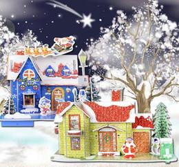 puzzles de camion de jouet Promotion Éducatifs 3D Puzzles Casse-neige DIY Maison À Nouveauté De Noël Construction Papier Jouet Puzzles Pour Enfants livraison gratuite en stock