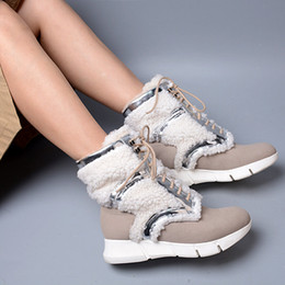 Wholesale Korean Boots For Girls - New Arrival Korean Style Patchwork With Wool Boots Sweety Nubuck Leather Thickness Wedge Bottom Lace Up Ankle Boots For Girls