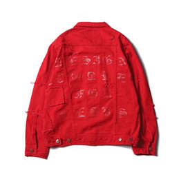 Wholesale Black High Waisted Denim - hot item:Tide brand FEAR OF GOD kanye printed high-street hole hip-hop washed denim jacket supp yeezus aape cham hole motorcycle jacket