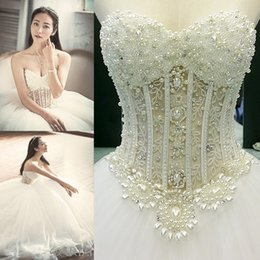 Wholesale Embroidered Bridal Dresses - Sexy Dimond Sweetheart Wedding Dress Crepe Embroidered Beaded Castle Ball Gown Sweep Train Illusion Backless Bridal Gown