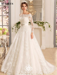 Wholesale Sexy Hochzeitskleid - Boat Neck Lace Wedding Dresses with Jacket Long Sleeve Glitter Beaded Graceful Wedding Gowns A-Line Elegant Pleats hochzeitskleid