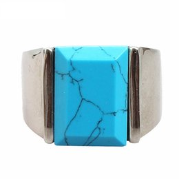 Wholesale Vintage Turquoise Engagement Rings - hot selling 316l stainless steel jewelry Turquoise retro vintage anti rust retro titanium steel fashion designer mens rings