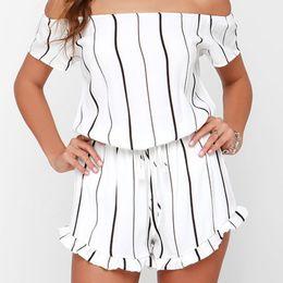 Wholesale Union Suit Shorts - Women New White Sex Catsuit Jumpsuit Union Suit One-shoulder Designer Lotus Leaf Striped Romper Bodysuit